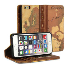 iPhone 6S Case, GMYLE Book Case Vintage -  World Map Pattern