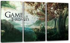 120x80cm Lein-Wand-Bild: Game of Thrones Stark mit Schwert in Fantasy-Wald-Lands