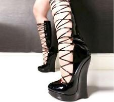 Women Extrem High Wedge Heel Cross Strap Shoes Nightclub Platform Round Toe Sexy
