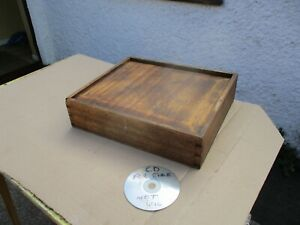 VINTAGE WOODEN ENGINEERS STORAGE / TOOL BOX. SLIDE TOP & REMOVEABLE TRAY