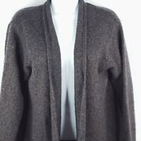 Eileen Fisher Marled Gray Brown Wool Blend Open Front Cardigan Sweater Sz M