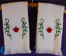 2 Embroidered Hand Kitchen Bathroom Red Floral Drying Tea Fingertip Towel Second