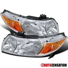 Fit 06-11 Honda Civic 2Door Coupe Crystal Chrome Headlights+Amber Reflector