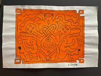 Keith Haring mixed media drawing on paper signed and stamped hand carved