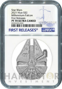 2021 STAR WARS - MILLENNIUM FALCON SHAPED COIN - NGC PF70 FIRST RELEASES