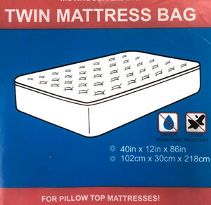 (Lot Of 3) Twin Size Pillow Top Mattress Bag - Moving and Storing - 40 x 12 x 86