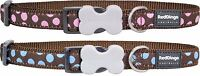 Red Dingo Polka Dot Dog or Puppy Collar | BLUE or PINK Spots on Mocha | FREE P&P