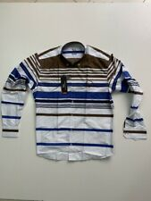 New Men Harmont and Blaine Shirt White With Blue-Brown Stripes - Size M