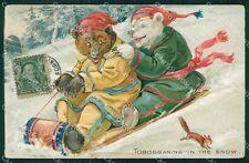 Thompson Dressed Bear Tobogganing Snow relief Tuck ABRADED postcard QT6778