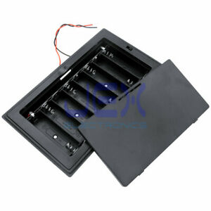 8X AA DIY Panel Mount Battery Holder Case Box 12V With Power Switch & Wire