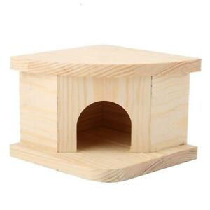 Wooden Hamster Cat House Bed Mouse Hut Pet Rat Cabin Small Cage Nester
