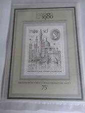 British Seconda in miniatura foglio di Londra 1980 MOSTRA INTERNAZIONALE FRANCOBOLLO