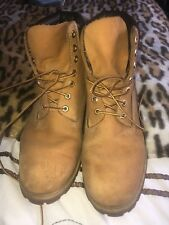 MENS TIMBERLAND WATERPROOF LEATHER BOOTS. SIZE 10 1/2 W TAN/BRN