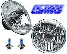 "7"" Crystal Projector Headlight 60/55w Halogen H4 Clear Light Bulb Headlamp Pair"