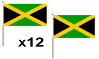Jamaica Waving Hand Flag 12 Pack Decoration Caribbean Jamaican Country
