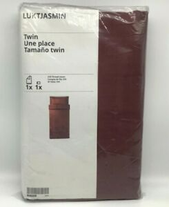 New Ikea LUKTJASMIN Twin Duvet cover + pillowcase, Red-Brown