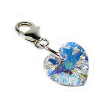Small Clear Crystal AB Heart Clip Charm Solid Silver Clasp - High Quality