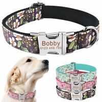 Dog Collar Personalized Floral Soft Nylon Custom Engraved Puppy ID Name XS S M L