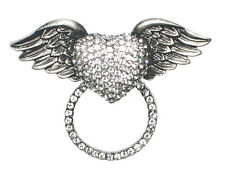 RHINESTONE WINGED HEART SUNGLASS HOLDER PIN