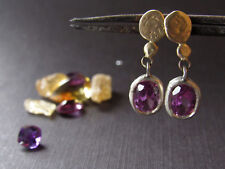 14k solid yellow gold & sterling silver earrings with Alexandrite.handmade
