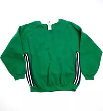 Vintage Adidas XL Green Pullover Crewneck Sweatshirt Stripes Heavy USA Men's