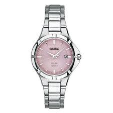 Seiko Solar Ladies Pink Dial Stainless Steel Dress Watch SUT315