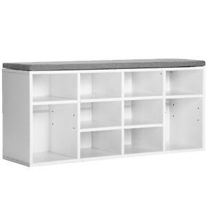 Shoe Cabinet Bench Storage Shoe Rack Unit Cupboard With Removable Cushion Seat
