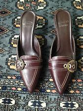 Joan and David Circa Mahogany Leather Kitten Heel Mules, Sz 6M, MINT CONDITION