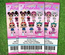 Personalized Ticket LOL Doll Invitations Birthday Invitation Party invites card