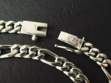 """Price Reduced ! Solid 925 Sterling Silver Figaro Chain Necklace  44g   19.5"""""""