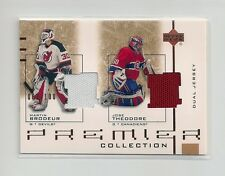 2001-02 UD Premier Collection Game Worn Jersey Dual Martin Brodeur/ Theodore 100