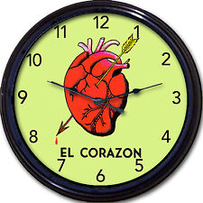 El Corazon Loteria Heart Wall Clock Dia De Los Muertos Day of the Dead New 10""