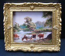 1:12 Scale Framed Picture (Print) Of Feeding Cattle Tumdee Dolls House Miniature