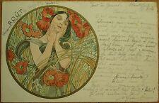 Mucha, Alphonse 1904 Artist-Signed Art Nouveau Postcard: Aout/August - Months