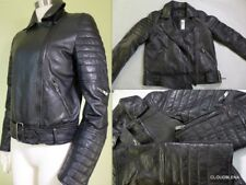 NWT BOD & CHRISTENSEN Leather asymmetrical zipper Motorcycle Jacket w/belt  S
