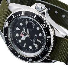 SHARK ARMY Men's Quartz Analog Wrist Watch Black Dial Nylon Date Display Sports