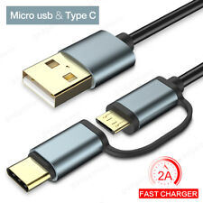 2 in 1 USB Cable Micro USB Type C Cable 2A Fast Charging Data Charger Lead Wire