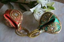 Set Of 2 Fortune Cookie Style Extravagant Red & Green Handbag Mint Condition