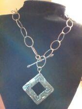 Vintage Sterling Silver Modern Brutalist Geometric X-Large Link Chain w Pendant