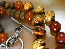 VTG Amber Carnelian Brown Agate Wood Stone Bead BOJO NECKLACE Signed Lucky Brand