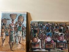 2 Kodjovi? African Oil On Burlap Paintings