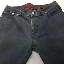 Pierre Cardin  Mens Jeans W35 L30 Dark Blue Regular Fit Straight High Rise