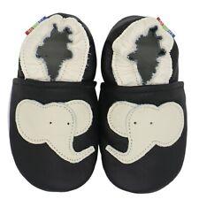 carozoo elephant black 6-12m soft sole leather baby shoes slippers