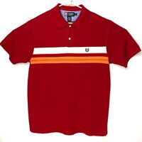 Chaps Mens Size Large Red Striped Polo Shirt Crest Emblem on Chest EUC