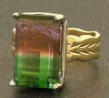 Dason 14K gold 9.14CTW 15.9 X 10mm Watermelon tourmaline cocktail ring size 7