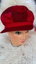 NEW Newsboy Cabbie Gatsby Hat Fau Suedr Red Knit Cap Black Beige Katie Holmes OS