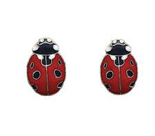 Ladybug Stud Earrings - 925 Sterling Silver - Enamel Ladybug - Insect - Gift Box