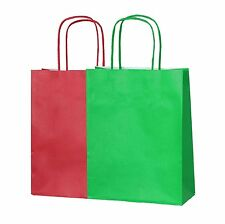 20 SMALL CHRISTMAS PAPER PARTY BAGS WITH HANDLES (10 RED/10 GREEN) LOOT GIFT