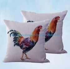 US Seller- set of 2 throw pillow farmhouse animal rooster chicken cushion cover