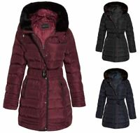 Womens Fur Hooded Belted Winter Faux Quilted Padded Warm Long Trim Coat